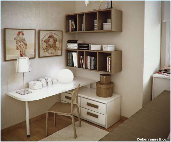 lovely-wall-arts-in-small-workspace-designs-with-white-table-and-grey-chair-under-floating-bookshelves4906762