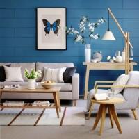 Bu dekorasyonda odak noktası olarak duvar seçilmiş ve duvar harici her yerde soft renkler kullanılırken duvarda kuvvetli bir mavi tercih edilmiş. Kelebekli pano ile de duvara kişilik kazandırılmış.