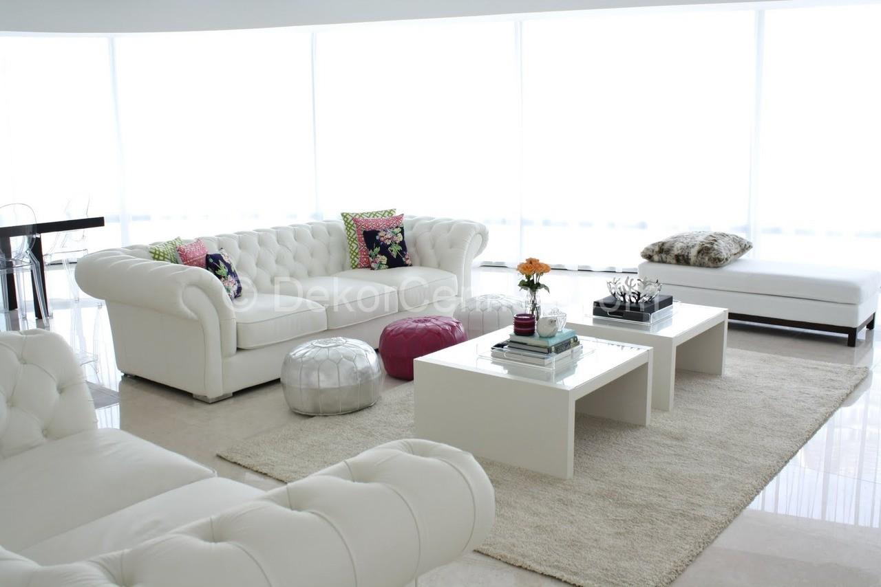 beyaz salon dekorasyon rnekleri 2018 dekorcennet com. Black Bedroom Furniture Sets. Home Design Ideas