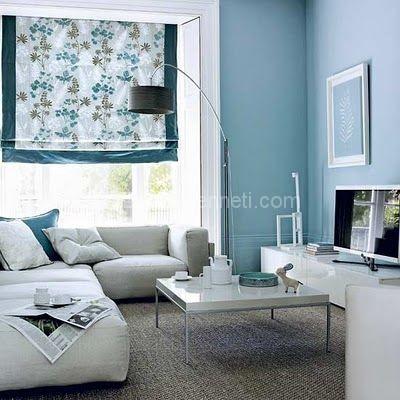 Gri Ve Mavi Kombinasyonuyla Oturma Odas Dekorasyonu 29