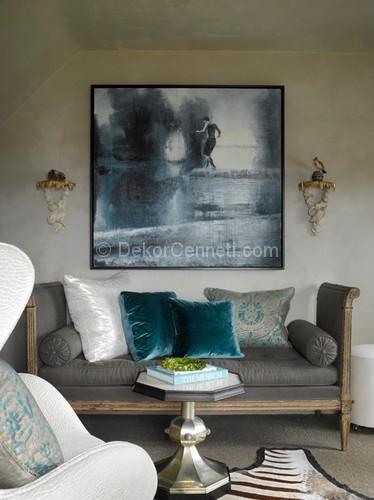 Gri Ve Mavi Kombinasyonuyla Oturma Odası Dekorasyonu 19