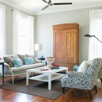 gri ve mavi oturma odası