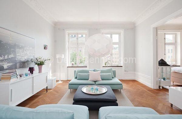 90 metre kare turkuaz beyaz modern ev dekorasyonu 1 mart for 2 1 salon dekorasyonu