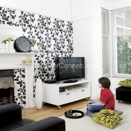 Tv nitesi arkas siyah beyaz duvar ka d dekor cennet for Wallpaper home center